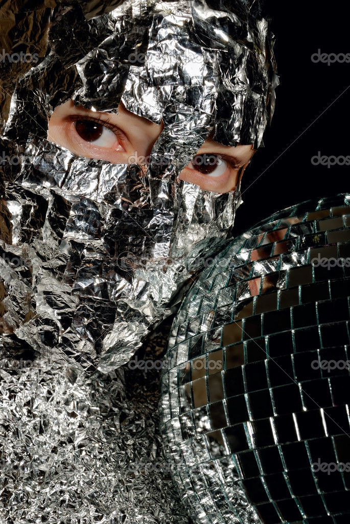 Portrait of the woman with a foil and disco ball — Stock Photo #2033704