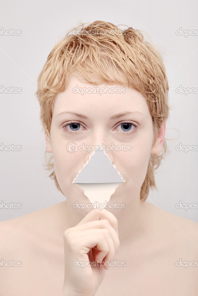 Portrait of the young woman with tongue from paper — Stock Photo #2087016
