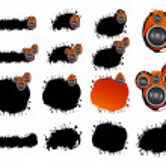 Grunge speaker collection — Stock Vector