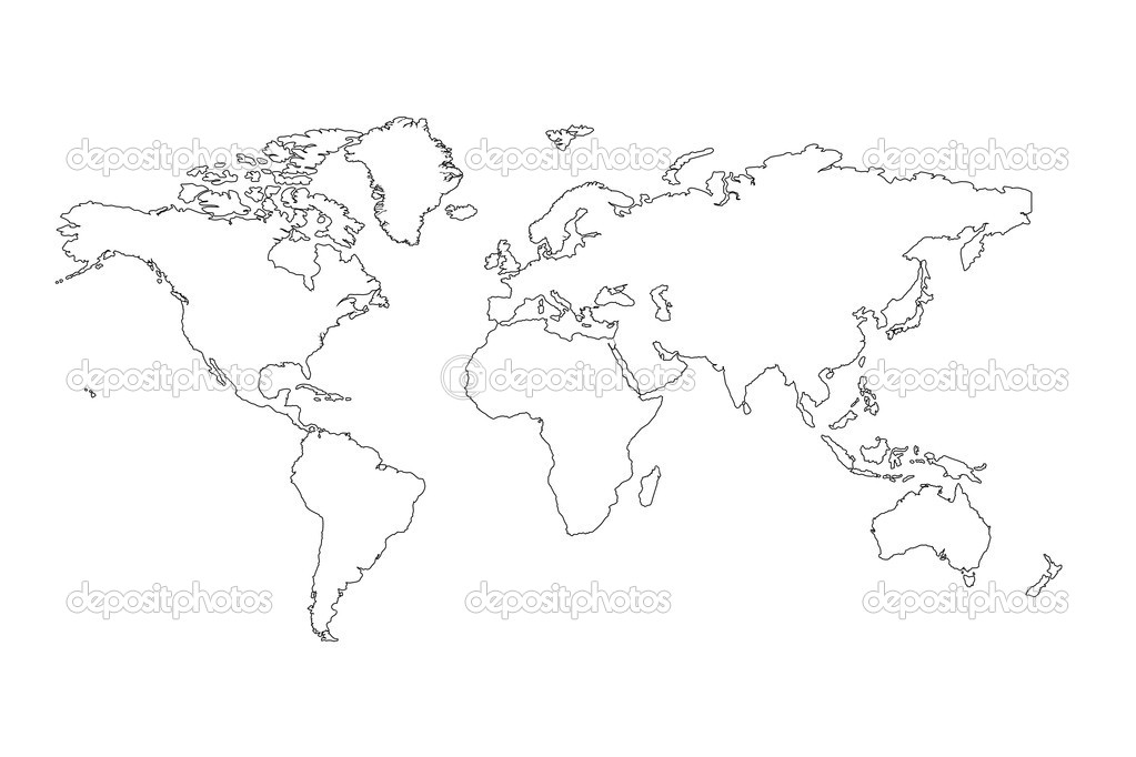 world map outline black. World Map outline on lack
