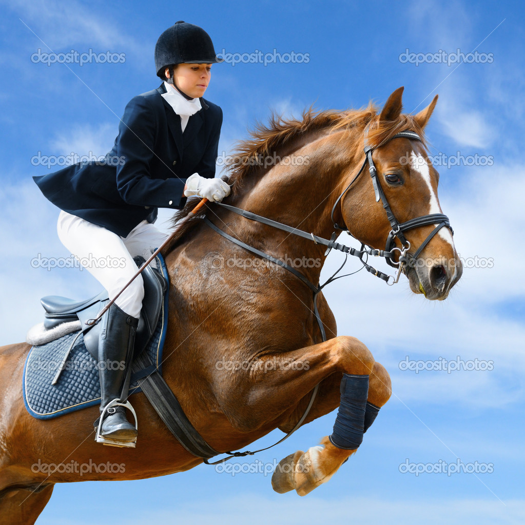 Young girl jumping with sorrel horse — Stock Photo #2654262
