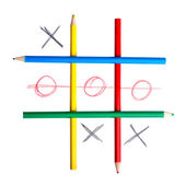Game in tic-tac-toe. A cage from pencils — Stock Photo