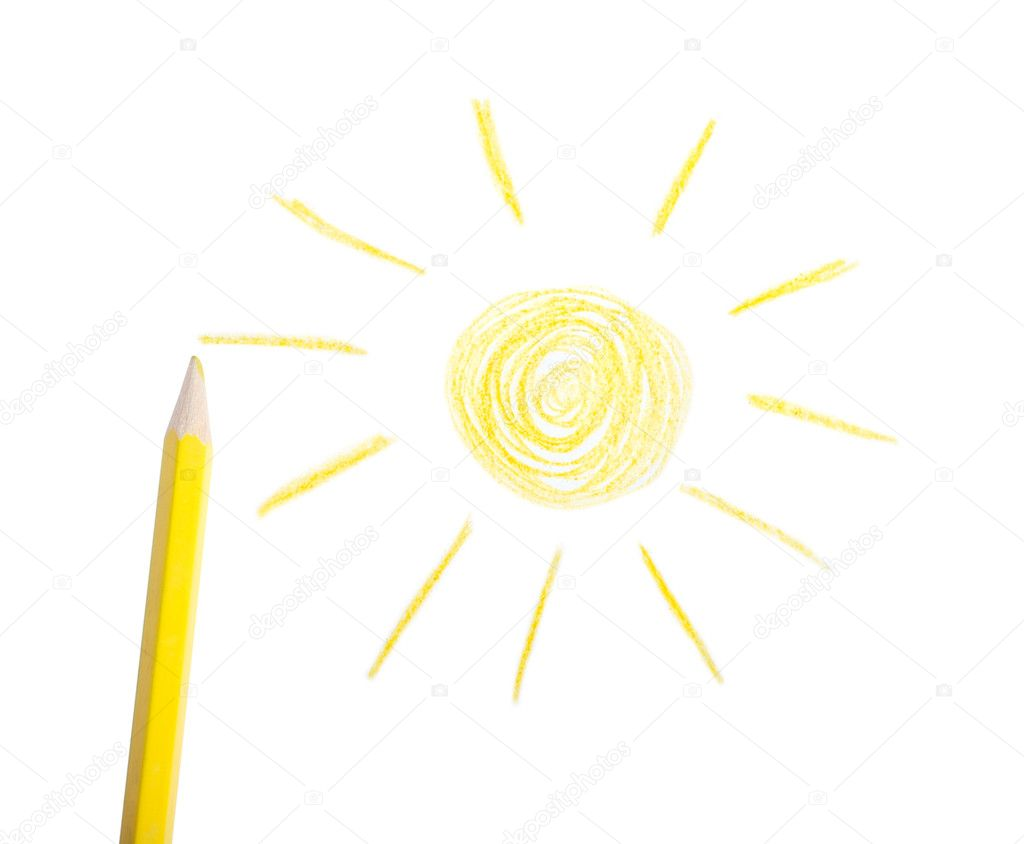 Yellow pencil and the drawn sun on a white background — Stock Photo #1392119