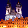 Stock Photo: Church of Our Lady Before Tyn at Night