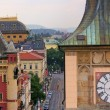 Stock Photo: Prague Rooftops and Clock Tower