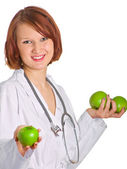 Doctor with apples — Stock Photo