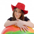 Girl in a western hat — Stock Photo