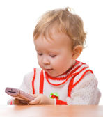 Kid with a smartphone — Stockfoto