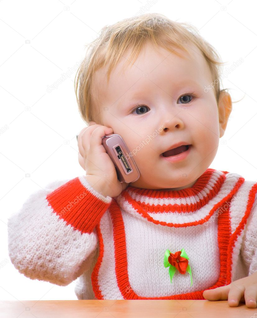 Kid talking on a cellular phone. Isolation on white. — Stock Photo #1227466