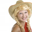 Young girl in a straw western hat — Stock Photo