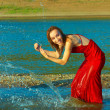 Splashing in the river — Stock Photo