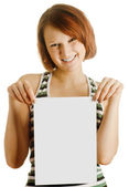 Girl with the sheet of paper — Stock Photo