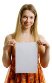 Girl with paper sheet — Stock Photo
