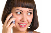 Woman calls on a cellular phone — Stock Photo