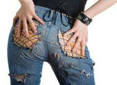 Vrouw in mode jeans — Stockfoto