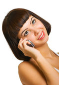 Sexy talking on a cellular phone — Stock Photo