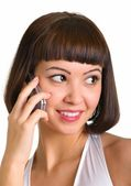Talking on a cellular phone — Stock Photo