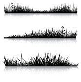 Black grass with reflection — Stock Vector