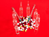 Tablets, syringes and ampoules — Stock Photo