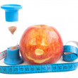Red apple with centimetre — Stockfoto