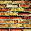 incrinato il muro di mattoni d'epoca — Foto Stock
