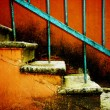 Royalty-Free Stock Photo: Old stairway on vintage red