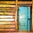 Painted dirty vintage wooden door — Stock Photo