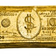 Golden 100-dollar bill — Stock Photo
