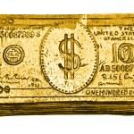 Golden 100-dollar bill — Stock Photo #1414291