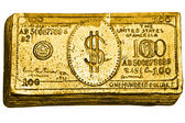 Golden 100-dollar bill — Foto Stock