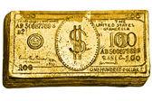 Nota de 100 dólares dourada — Foto Stock