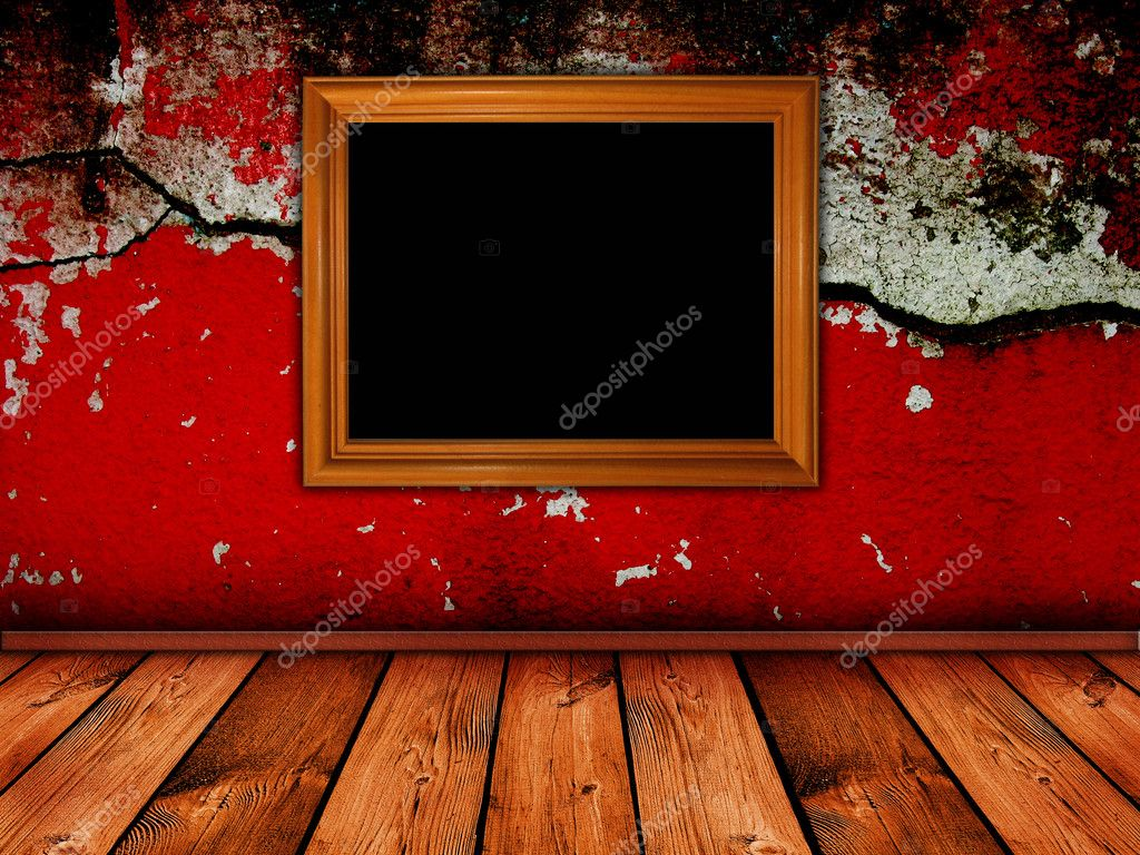 Vintage interior with bright red cracked wall - similar images available — Stock Photo #1636651
