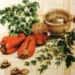 Wicker vegetable background — Stock Photo