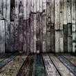 Dirty dark vintage wooden room — Stock Photo
