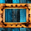 Frame onl wooden wall — Stock Photo