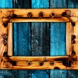 Stock Photo: Frame onl wooden wall
