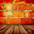 Stock Photo: Vintage brick and wooden interior