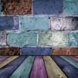 Stock Photo: Painted brick and wooden interior