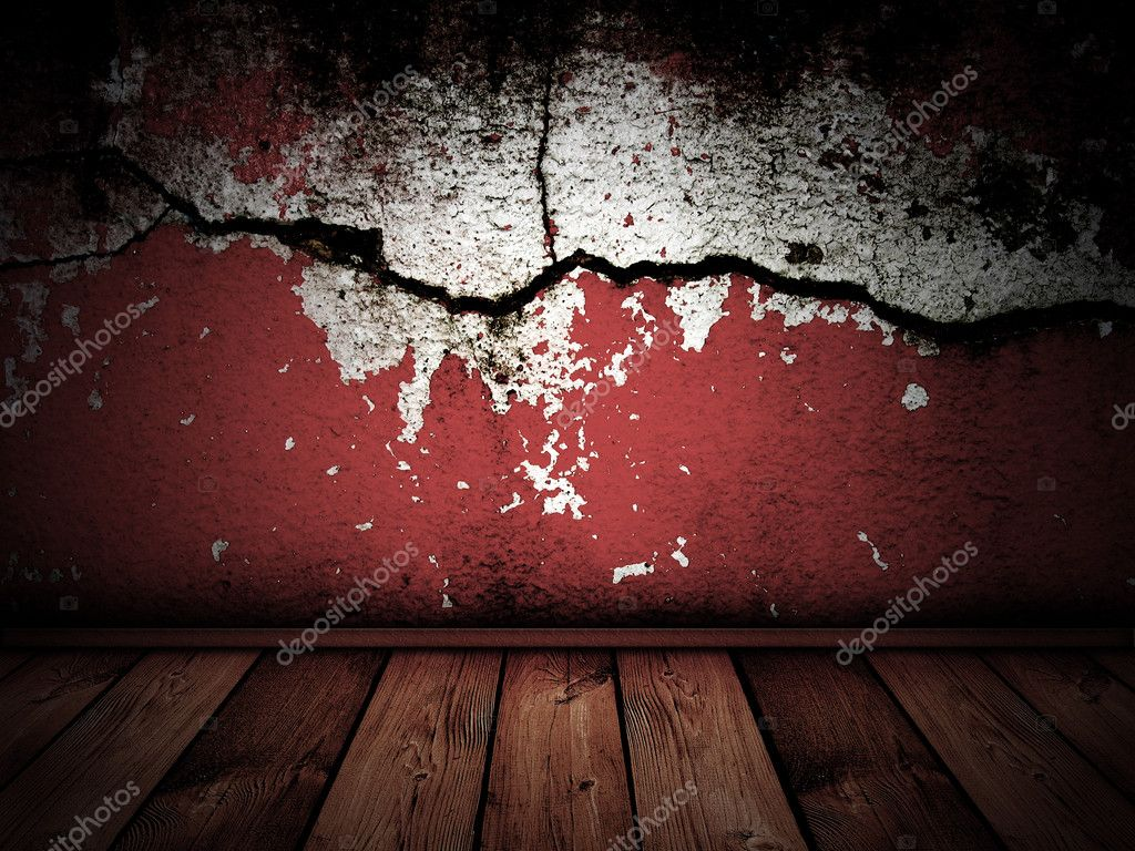 Dark vintage interior with red cracked wall  — Stock Photo #2428638