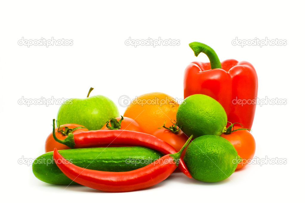 Fruits and vegetables isolated on white — Stock Photo #2428650