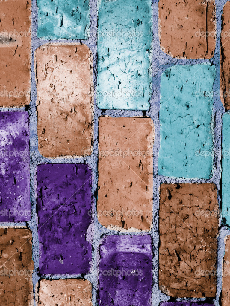 Multicolored vintage brick wall background — Stock Photo #2428663