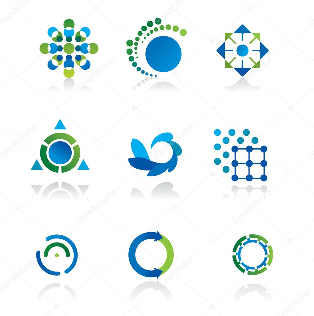 Collection of 9 design elements and graphics in green and blue color — Stock Vector #1242465