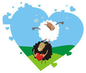 Valentine card with two playing sheep — Stock Vector
