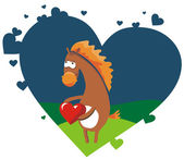 Valentine card with nice horse holding r — Stock Vector