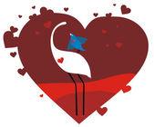 Aves de tarjeta de san valentín en el amor — Vector de stock