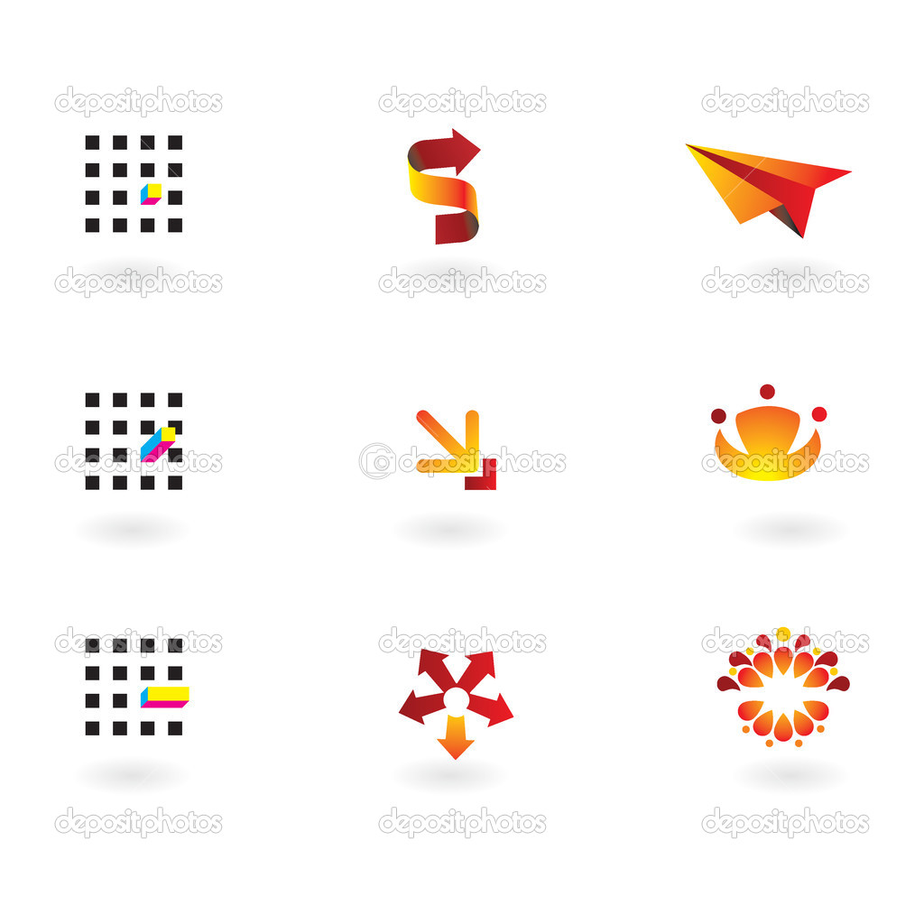 Collection of 9 design elements and graphics in orange,red, cmyk color — Stock Vector #1277008