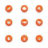 Food icon buttons — Stock Vector