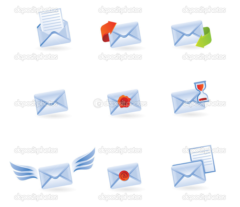 Mail icons isolated on white - vector illustration — Stock Vector #1392356