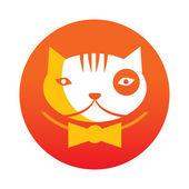 Orange cat logo — Stock Vector