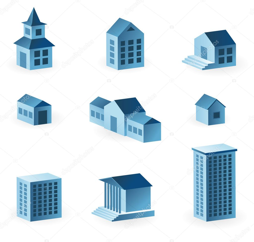 Set of 9 house icons - vector illustration — Stock Vector #1709433